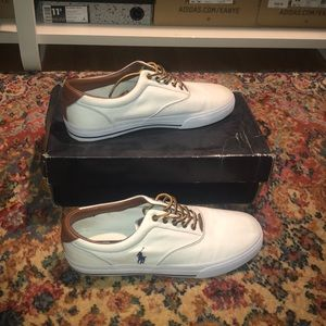 Vaughn White Canvas/Leather Polo Shoes